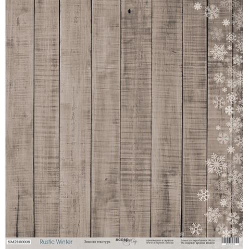 Лист односторонней бумаги Зимняя текстура из коллекции Rustic winter от Scrapmir, 30*30 см фото