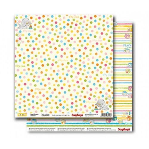 "Лист двусторонней бумаги для скрапбукинга ""Sweet Dreams - Spots & Stripes"" 30,5x30,5 см, ScrapBerry's"