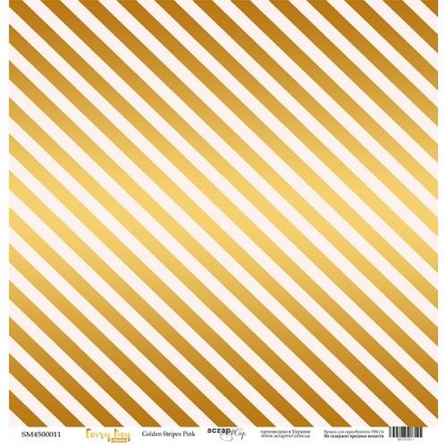 """Лист односторонней бумаги с золотым тиснением Every Day Gold """"Golden Stripes Pink"""" 30x30 от Scrapmir фото"""