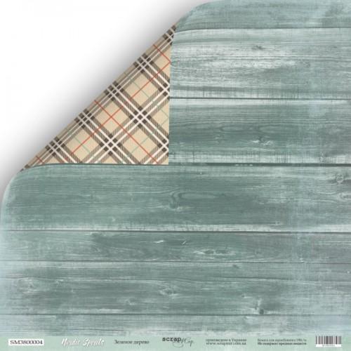 """Лист двусторонней бумаги Nordic Spirits """"Зелёное дерево"""" от ScrapMir"""