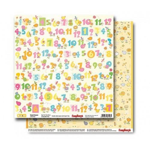 "Лист двусторонней бумаги для скрапбукинга ""Sweet Dreams- My First Numbers"" 30,5x30,5 см, ScrapBerry's фото"