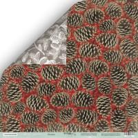 """Лист двусторонней бумаги Nordic Spirits """"Шишки"""" от ScrapMir, 30x30 см"""