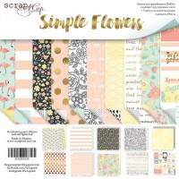 Набор двусторонней бумаги Simple Flowers 20х20см от Scrapmir
