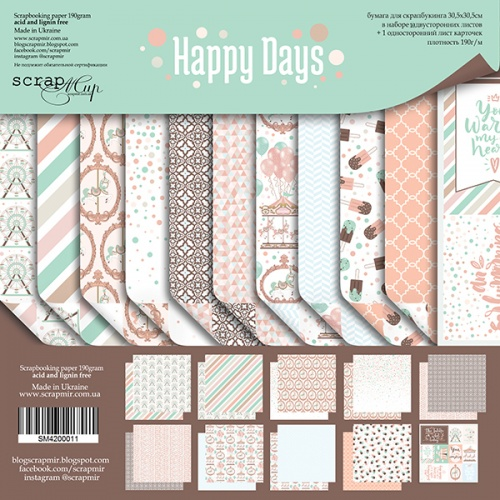 Набор двусторонней бумаги Happy Days 30х30см  от Scrapmir фото