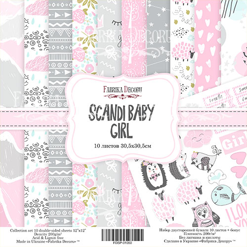 "Набор скрапбумаги ""Scandi Baby Girl"" 30 Х 30 см Фабрика Декору фото"