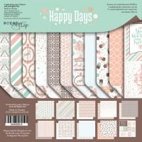 Набор двусторонней бумаги 20х20см Happy Days от Scrapmir