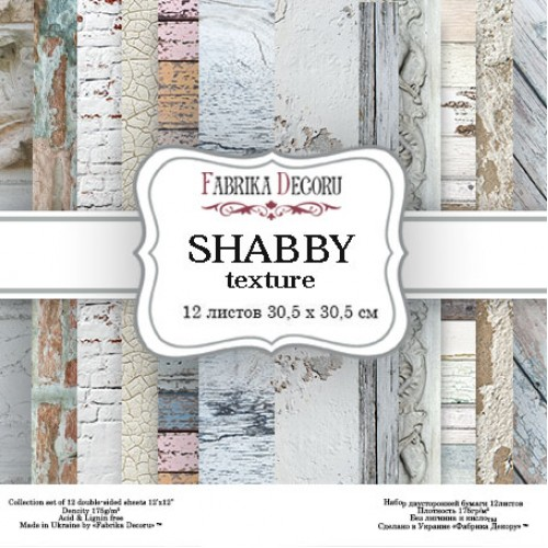 "Набор скрапбумаги ""Shabby texture"" 30 Х 30 см, Фабрика Декору"