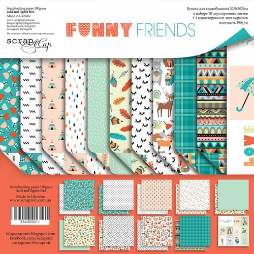 Набор двусторонней бумаги 30х30см от Scrapmir Funny Friends 10шт