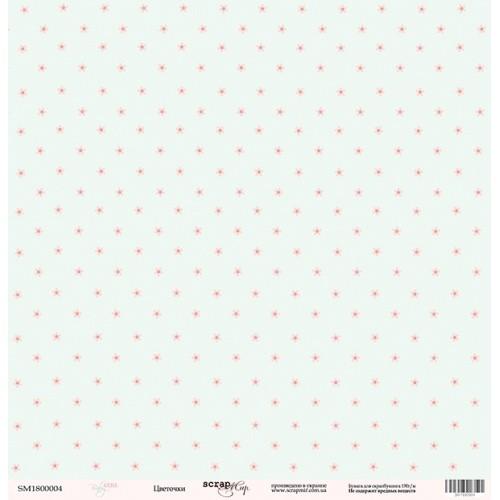 Лист односторонней бумаги Цветочки из коллекции Baby Girl 30x30 см от Scrapmir фото