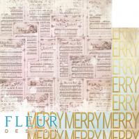 Лист двусторонней бумаги Веселые ноты из коллекции Волшебный лес от Fleur Design, 30*30 см