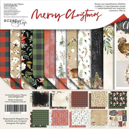 Набор двусторонней бумаги Merry Christmas 20х20см от Scrapmir, фото
