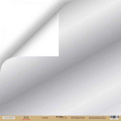 Лист двусторонней бумаги Серебро из коллекции Hello Christmas от Scrapmir, фото