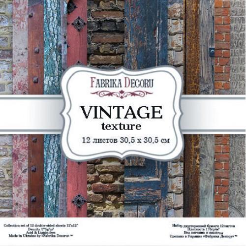 """Набор скрапбумаги """"Vintage texture"""",30,5 x30,5 см, Фабрика Декору"""