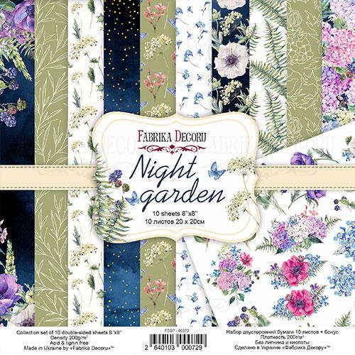 """Набор скрапбумаги """"Night garden"""" 20x20см, Фабрика Декору"""