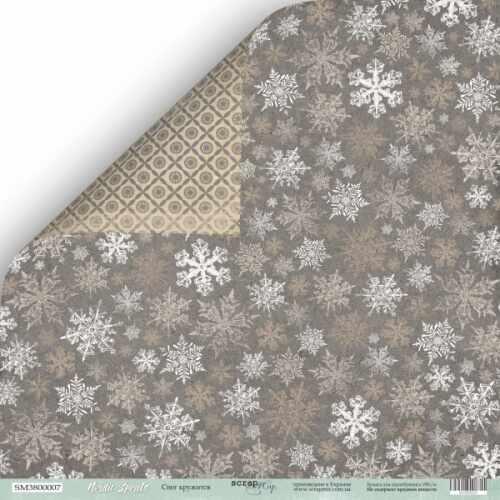Лист двусторонней бумаги Снег кружится из коллекции Nordic Spirits от Scrapmir, фото