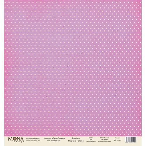 """Лист односторонней бумаги """"Лиловый"""", Горох базовая 30x30 см от Mona design фото"""