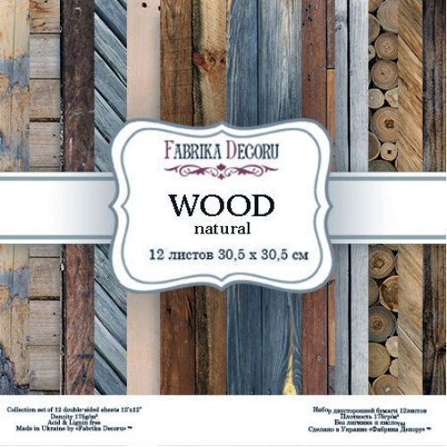 "Набор скрапбумаги  ""Wood natural"",30,5 x30,5 см, Фабрика Декору"