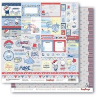 Лист двухсторонней бумаги ''Морские приключения'' Карточки 1, укр., 30х30 см ScrapBerry's