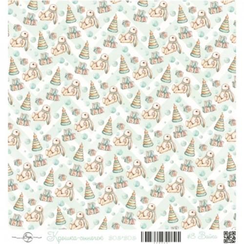 """Лист односторонней бумаги """"Зайка"""" из коллекции Крошка-сыночек ScrapEgo, 30*30 см"""