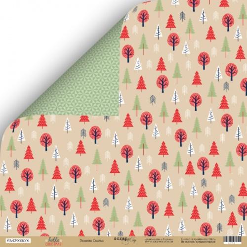 Лист двусторонней бумаги Зимняя сказка из коллекции Hello Christmas от Scrapmir, фото