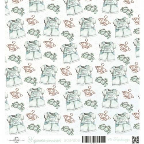 """Лист односторонней бумаги """"Комбинезон"""" из коллекции Крошка-сыночек ScrapEgo, 30*30 см"""