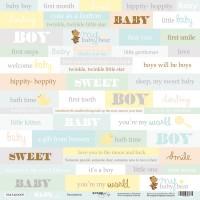 Лист односторонней бумаги Inscriptions (ENG) из коллекции Smile Baby 30x30 от Scrapmir