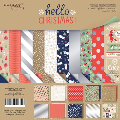 Набор двусторонней бумаги Hello Christmas 20х20см от Scrapmir фото