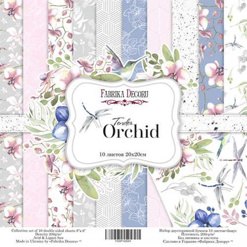 """купить набор двусторонней бумаги """"Tender orchid"""" 30x30см Фабрика Декору"""