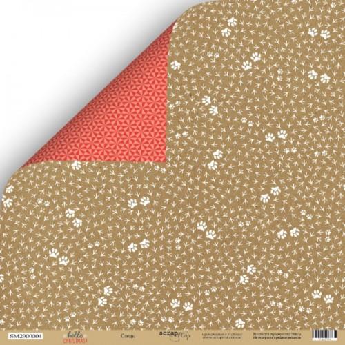 Лист двусторонней бумаги Следы из коллекции Hello Christmas от Scrapmir, 30*30 см фото