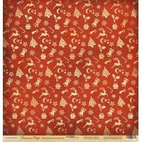 Лист односторонней бумаги Праздничное настроение из коллекции Christmas Night от Scrapmir, 30*30 см