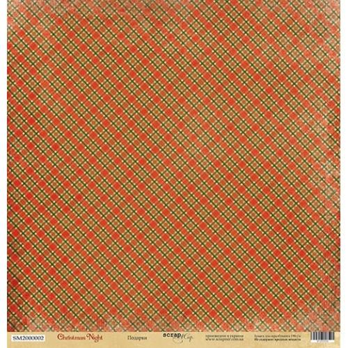 Лист односторонней бумаги Подарки из коллекции Christmas Night от Scrapmir, 30*30 см фото