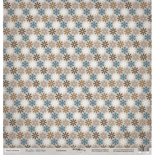 Лист односторонней бумаги Снежинки из коллекции Rustic Winter от Scrapmir, 30*30 см