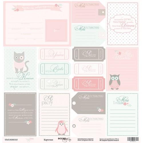 Лист односторонней бумаги Карточки из коллекции Baby Girl от Scrapmir, 30*30 см фото
