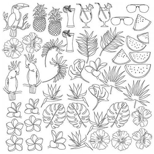 """Лист для для раскрашивания аква-чернилами """"Tropical paradise"""" (30,5x30,5см) Фабрика Декору"""