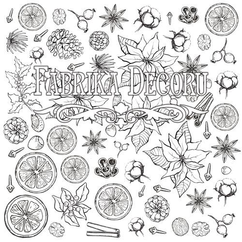 """Лист для для раскрашивания аква-чернилами """"Botany winter"""" Фабрика Декору 30,5x30,5см фото"""