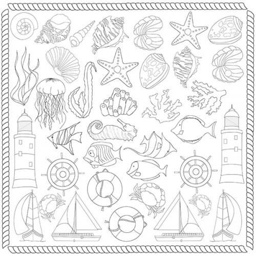 """Лист для для раскрашивания аква-чернилами """"Sea breeze"""" (30,5x30,5см) Фабрика Декору"""