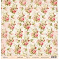 Лист односторонней бумаги 30x30 от Scrapmir Розовые цветы из коллекции Карамель