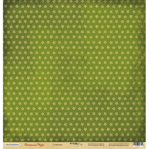 Лист односторонней бумаги Созвездие из коллекции Christmas Night от Scrapmir, 30*30 см фото