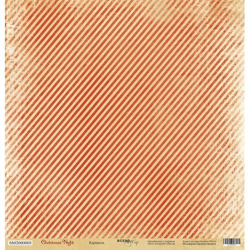 Лист односторонней бумаги Карамель 30x30 см из коллекции Christmas Night от Scrapmir фото