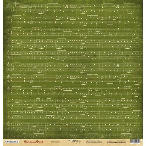 Лист односторонней бумаги 30x30 от Scrapmir Мелодия из коллекции Christmas Night