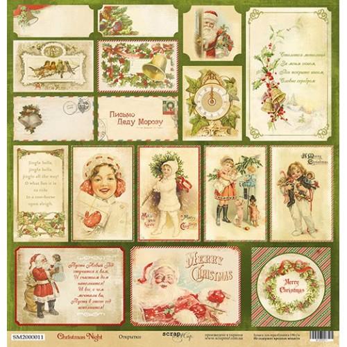 Лист односторонней бумаги Открытки из коллекции Christmas Night 30x30 от Scrapmir