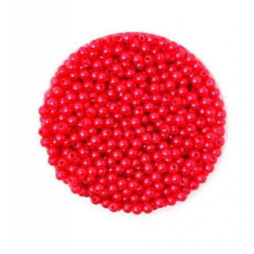 Бусины акриловые Красные 4 мм, 100 шт