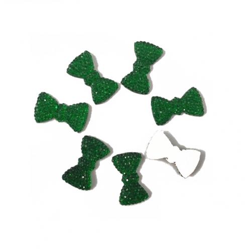 Кабошон Бантик зеленый, 20*10 мм