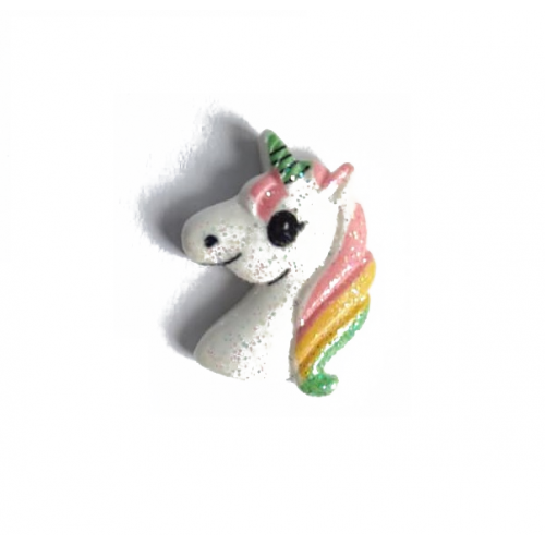 Кабошон Единорог белый, голова с блестками