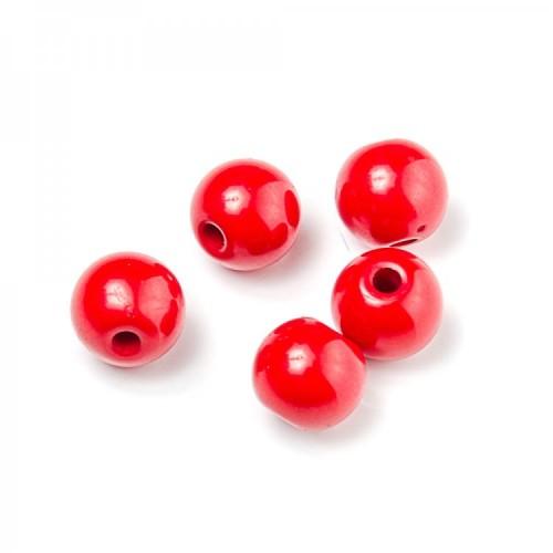 Бусина пластиковая красная, 10 мм