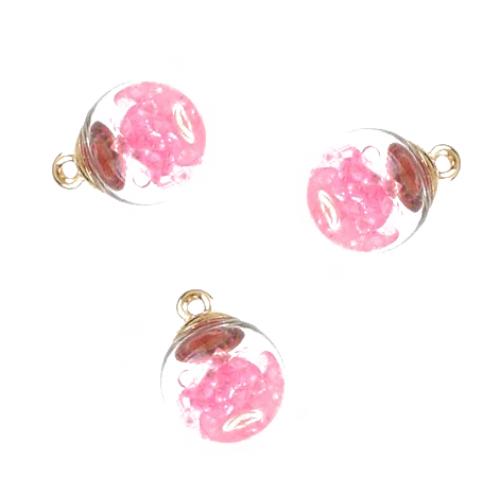 Подвеска стеклянная Шарик с розовыми кристаллами