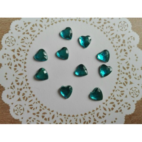 Камешки прозрачные Сердечки голубые фото