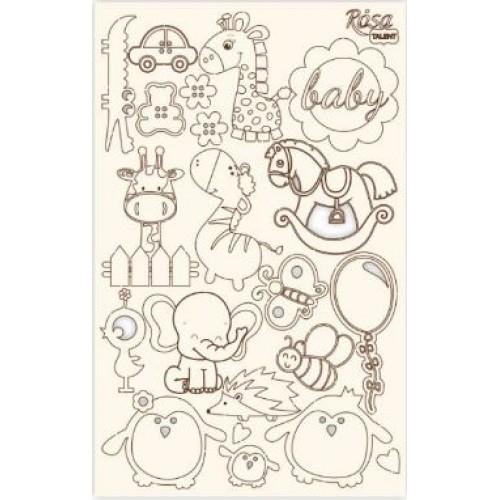 """Чипборд для скрапбукинга """"Детские мотивы"""" 4, белый картон, 12,6х20см, ROSA TALENT"""