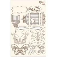 "Чипборд для скрапбукинга ""Floral Poem"" 1, белый картон, 12,8х20см, ROSA TALENT"