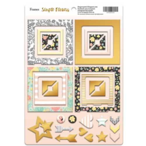 Рамки из чипборда с фольгированием (золото) для скрапбукинга 30шт от Scrapmir Simple Flowess